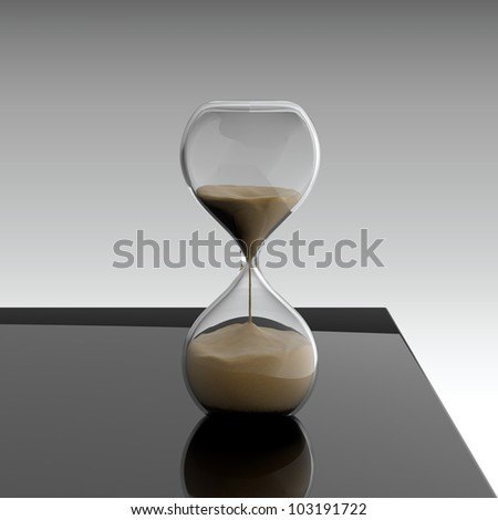 3D render of hourglass on black table