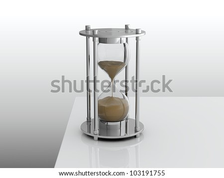 3D render of hourglass on white table