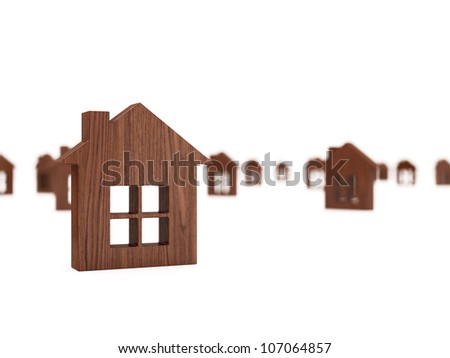 3d render of house icons conceptual background