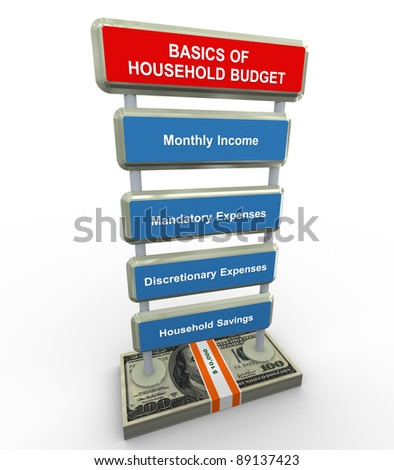 3d render of household budget basics concept