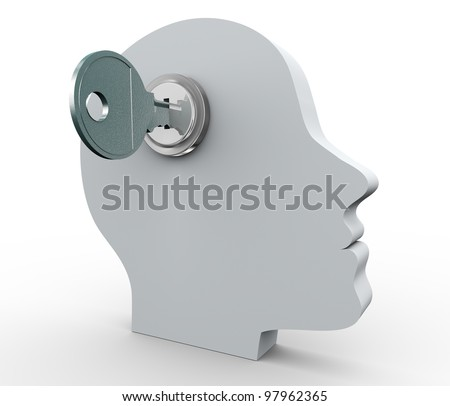 3d render of human head with key - stock photo