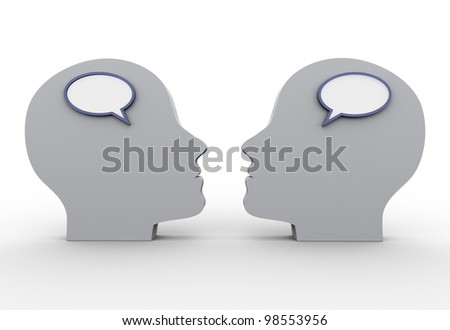 3d render of human heads with speech bubble.