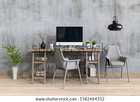 3D render of interior modern living room workspace with desk and desktop computer