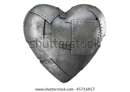 3d render of iron-clad heart - stock photo