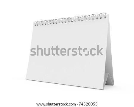 3d render of isolated blank white calendar