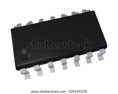 3d render of Isolated SOIC 14N Electronic Component