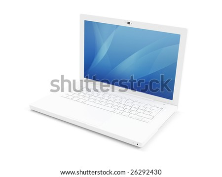 3d render of isolated white laptop