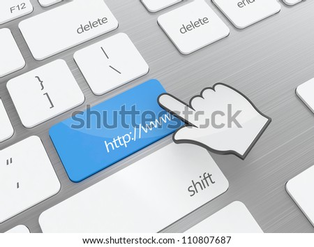 3D render of keyboard and blue button with domain address