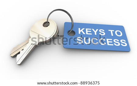 3d render of keys with success tag