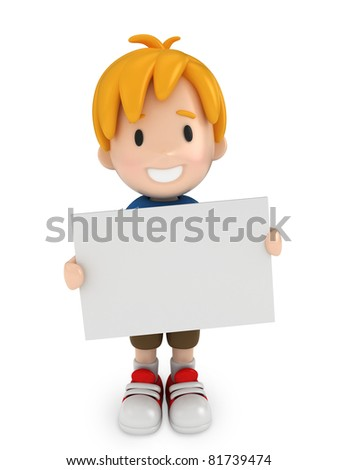 3D Render of Kid and Blank Board