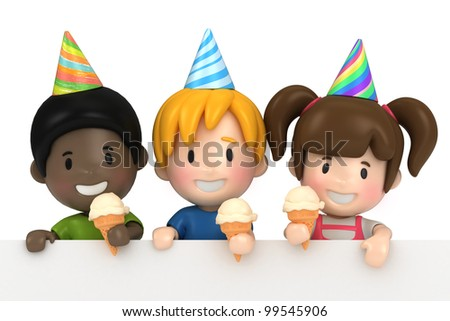 3d render of kids in a party and blabkboard