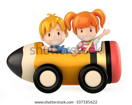 3d render of kids riding a pencil cart