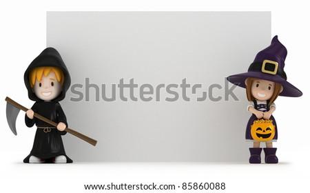3D render of kids wearing halloween costumes