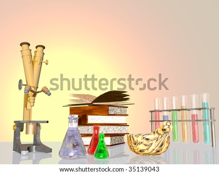 3D render of lab equipment, microscope, test tubes, books, mortar and pestle on reflective surface