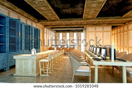 3d render of library interior view #1019281048