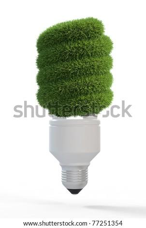 3d render of light bulb covered grass
