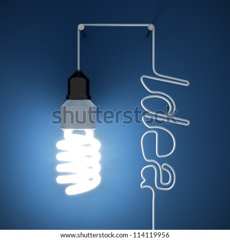 3d render of light bulb idea concept on dark blue background