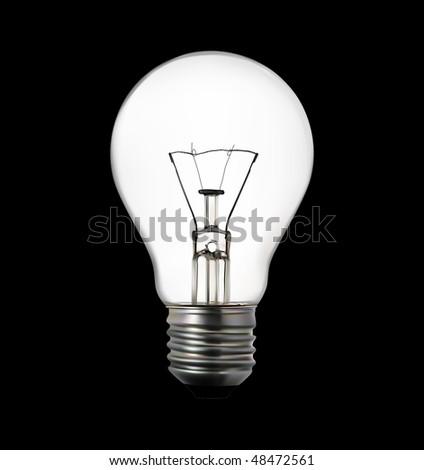 3d render of light bulb on black #48472561