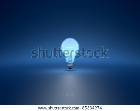 3d render of light bulb on blue background