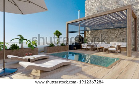 3D render of luxury contemporary outdoor wooden patio with swimming pool.Deck chairs with umbrella and fruit cocktails next to water. Bioclimatic pergola and teak wood flooring.