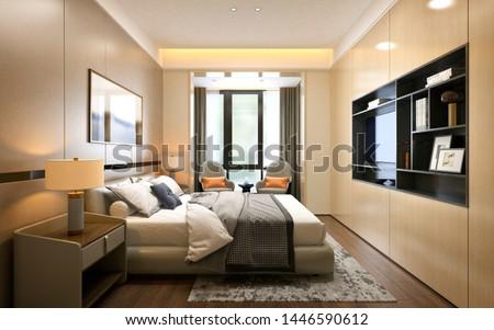 3d render of luxury hotel room