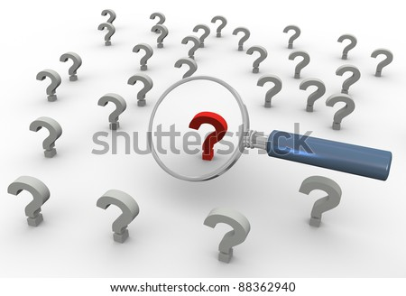 3d render of magnifying glass hover over red question mark