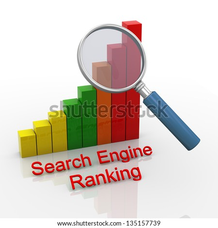 3d render of magnifying glass hover over search engine ranking progress bars chart. - stock photo