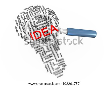 3d render of magnifying glass hovering over bulb shape idea wordcloud