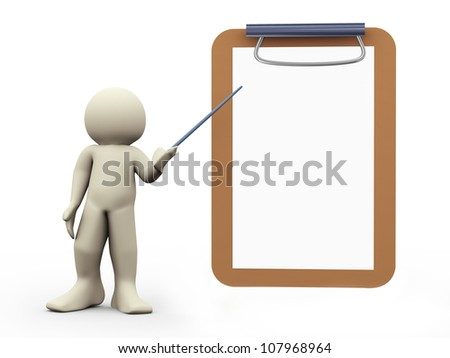 3d render of man and large blank note pad. 3d illustration of human character