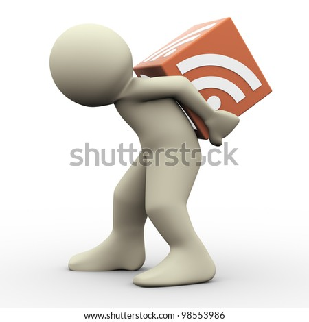 3d render of man carrying rss cube. 3d illustration of human character