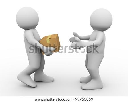 3d render of man delivering parcel. 3d illustration of human characters.