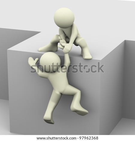 3d render of man helping another person - stock photo