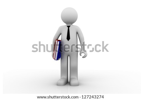 3d render of man holding files