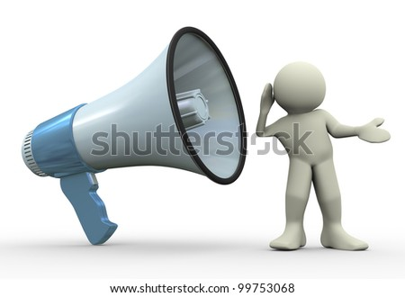 3d render of man listening to megaphone