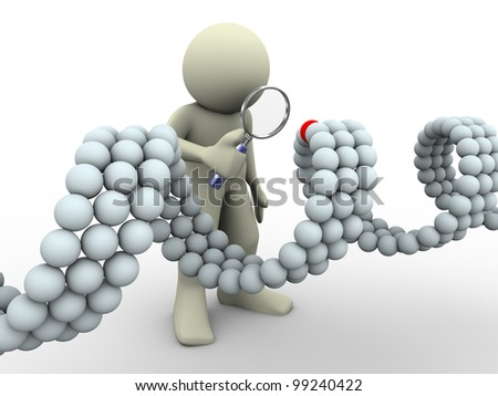 3d render of man with magnifying glass looking at unique element of dna - stock photo