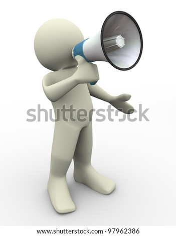 3d render of man with megaphone
