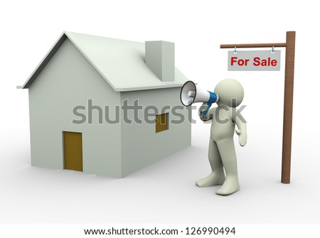 3d render of man with megaphone announcing house for sale.