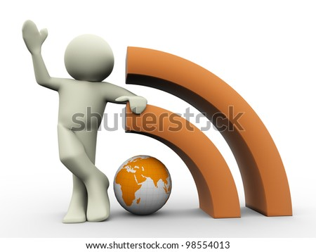 3d render of man with rss globe icon. Human character 3d illustration. - stock photo