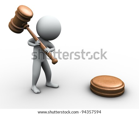 3d render of man with wood gavel