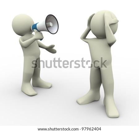 3d render of man yelling with megaphone