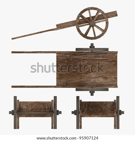 3d render of medieval cart