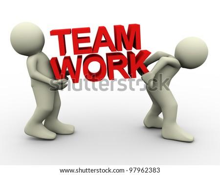 3d render of men carrying text 'team work' - stock photo