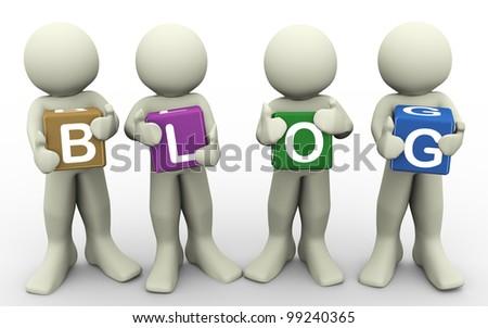 "3d render of men holding word ""blog"". 3d illustration of human character."