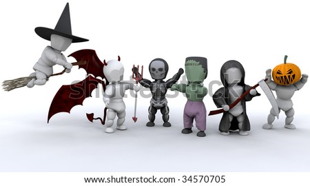 3D render of men in halloween party outfits
