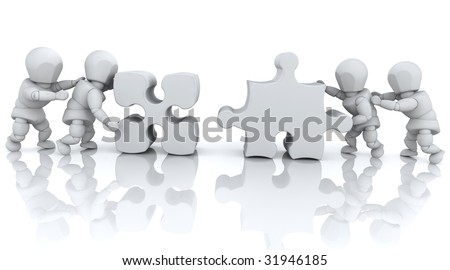 3D render of men solving jigsaw puzzles - stock photo