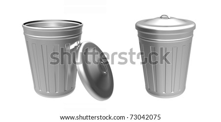 3d render of  metal buckets with a cover on a white background