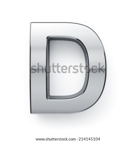3d render of metallic alphabet letter symbol - D. Isolated on white background