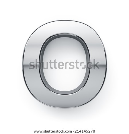 3d render of metallic alphabet letter symbol - O. Isolated on white background