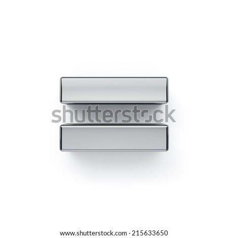 3d render of metallic arithmetic equal symbol. Isolated on white background  Stock photo ©