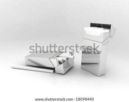 3d render of metallic cigarette box